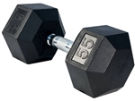 French Fitness Rubber Coated Hex Dumbbell 55 lbs Image