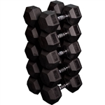 French Fitness Rubber Coated Hex Dumbbell Set 55-75 lbs Image