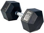 French Fitness Rubber Coated Hex Dumbbell 60 lbs Image