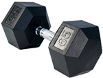 French Fitness Rubber Coated Hex Dumbbell 65 lbs Image