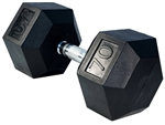 French Fitness Rubber Coated Hex Dumbbell 70 lbs Image