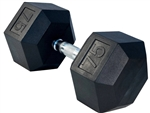 French Fitness Rubber Coated Hex Dumbbell 75 lbs Image