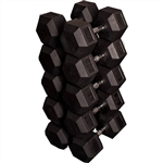 French Fitness Rubber Coated Hex Dumbbell Set 80-100 lbs Image