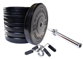 Body Solid OBPX Chicago Extreme Bumper Plates Set 305 lbs w/Bar Image