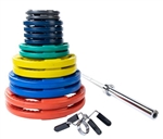 Body Solid ORC300S Colored Rubber Grip Olympic Plate Set 300 lbs Image