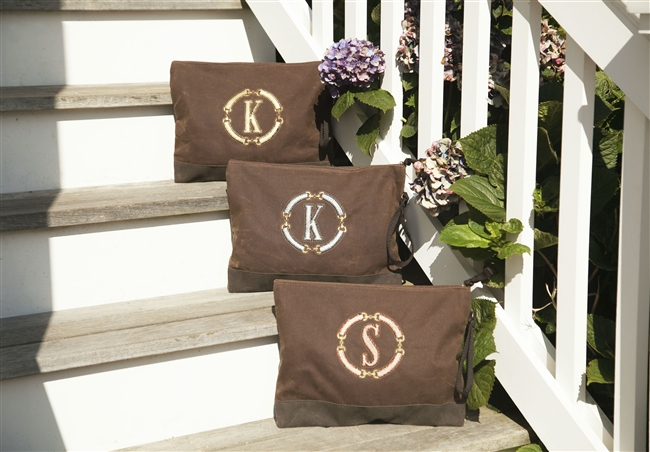 Rustic Waxed Canvas Clutch featuring a Vintage Metallic Medallion with an Initial in Rose Gold, Gold or Silver.