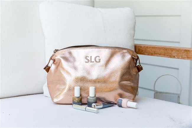 Canvas and Vegan Leather Dopp Kit with Metallic Monogram