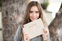 Lily Collins' Gratitude Pouch inspired and designed by the Foster Youth of Stepping Forward Los Angeles