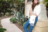 Lily Collins' Gratitude Throw inspired and designed by the Foster Youth of Stepping Forward Los Angeles