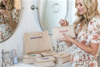 Molly Sims collaboration with Rachel Miriam featuring the Sparkle Party Zipper Pouch