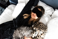 Erin Lim's Girl's Night Collection featuring faux fur sleep mask. Benefiting Freedom & Fashion