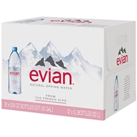 Evian Natural Spring Water 1 liter, 12 bottles