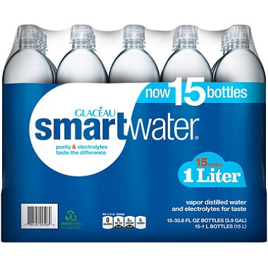 SmartWater bottled water, 1 Liter, 15 bottles