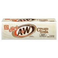 A&W Diet Cream Soda, 12 oz, 12 cans