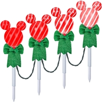 LIGHTED LED DECOR Mickey Mouse with Green Bow Pathway Stakes