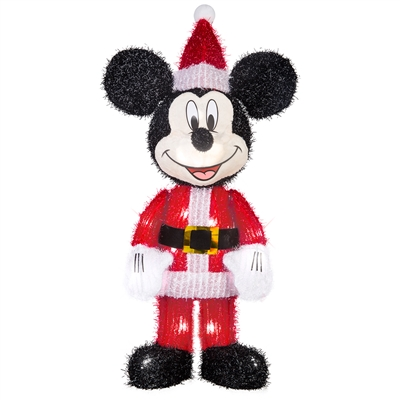 LIGHTED DECOR Mickey Mouse as Santa Tinsel