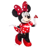 LIGHTED LED DECOR Minnie Mouse in Red Polka Dot Dress Tinsel