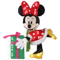 LIGHTED DECOR Minnie Mouse with Present Tinsel