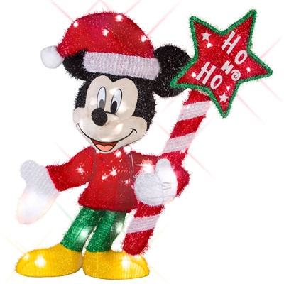 LIGHTED DECOR Mickey Mouse with 'Ho Ho Ho' Sign Tinsel