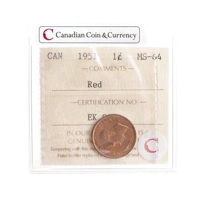 1 cent 1951 Red ICCS MS-64