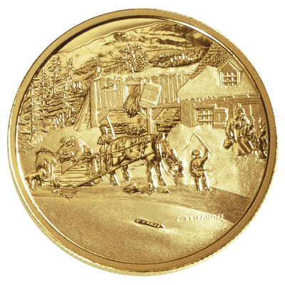 $200 2001 Gold Coin - Cornelius Krieghoff, The Habitant Farm