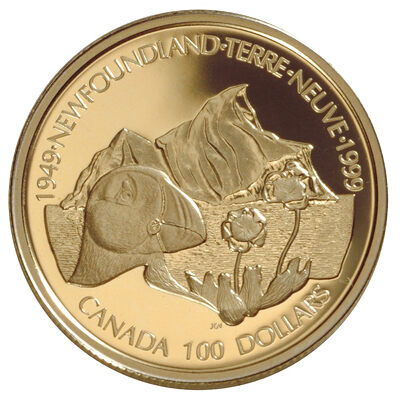 $100 1999 Gold Coin - 50th Anniversary of Newfoundland's Confederation