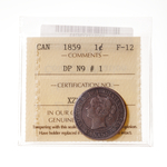1 cent 1859 Narrow 9 DP#1  ICCS F-12