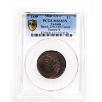 1 cent 1859 Narrow 9 Mint Error PCGS MS-62
