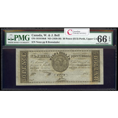 Canada 1838-39 -  30p/$1/2 W. & J. Bell Merchant Scrip certified MS-66