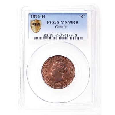 1 cent 1876H Red and Brown PCGS MS-65