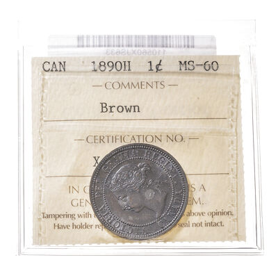 1 cent 1890H  ICCS MS-60