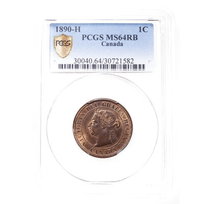1 cent 1890H Red and Brown PCGS MS-64