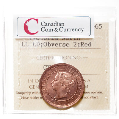 1 cent 1891 LD LL Red Obv 2 ICCS MS-65