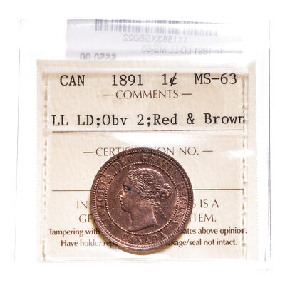 1 cent 1891 LD LL Red and Brown Obv 2 ICCS MS-63