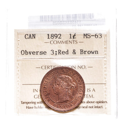 1 cent 1892 Red and Brown Obv 3 ICCS MS-63