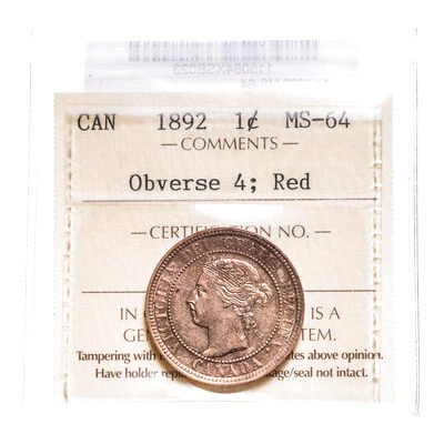 1 cent 1892 Red Obv 4 ICCS MS-64