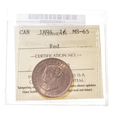 1 cent 1894 Thin 4 ICCS MS-65