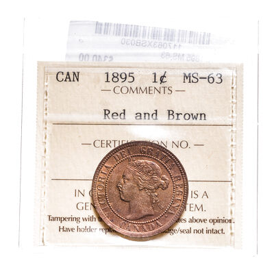 1 cent 1895 Red and Brown ICCS MS-63