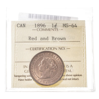 1 cent 1896  ICCS MS-64