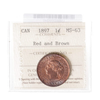 1 cent 1897 Red and Brown ICCS MS-63