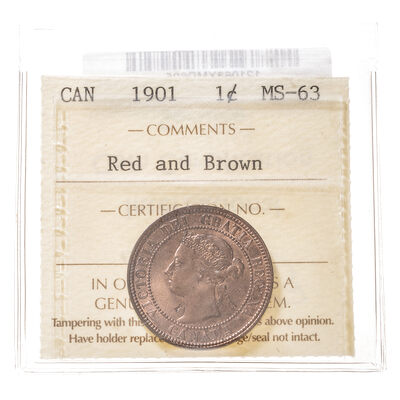 1 cent 1901  ICCS MS-63