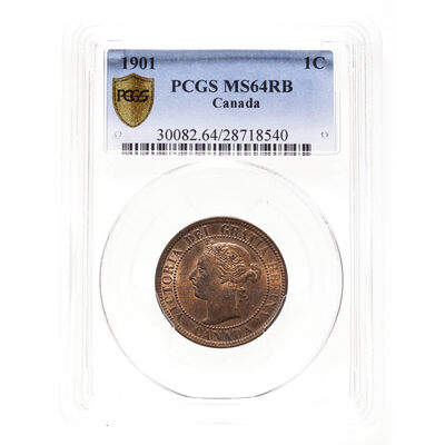 1 cent 1901 Red and Brown PCGS MS-64