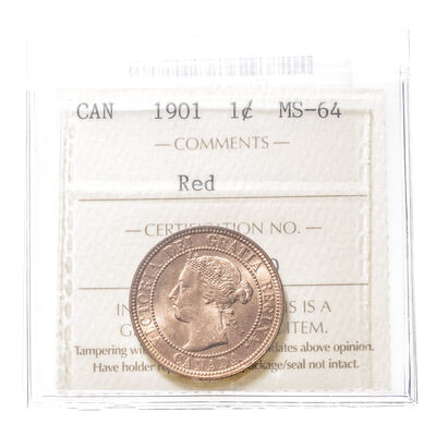 1 cent 1901 Red ICCS MS-64