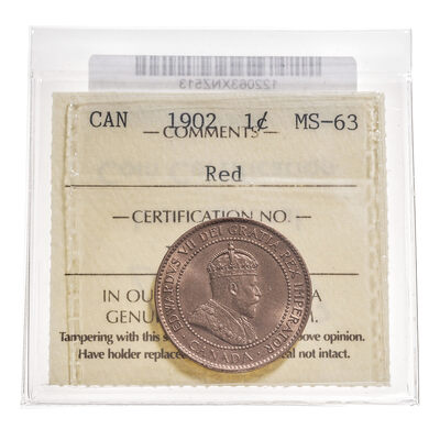 1 cent 1902 Red ICCS MS-63