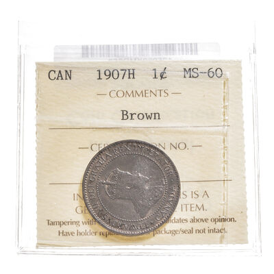 1 cent 1907H  ICCS MS-60
