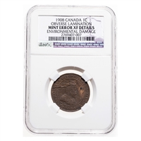 1 cent 1908 Mint Error NGC EF-40