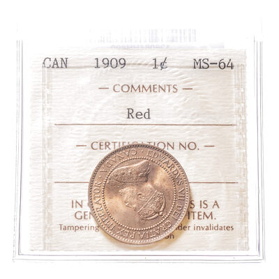 1 cent 1909 Red ICCS MS-64