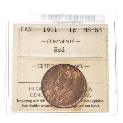 1 cent 1911  ICCS MS-63