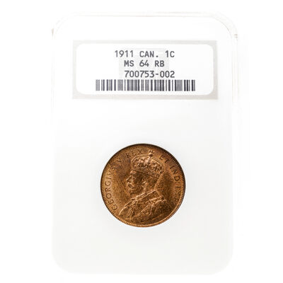 1 cent 1911 Red and Brown NGC MS-64