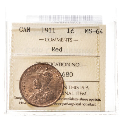 1 cent 1911  ICCS MS-64